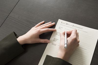 Woman signing will