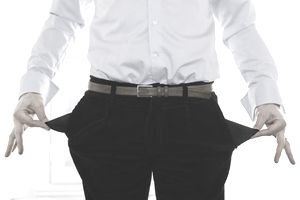 a man showing empty pockets