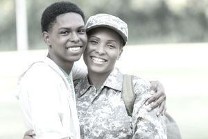 Military mom hugs her teenage son