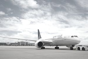 A United plane prepares to taxi.