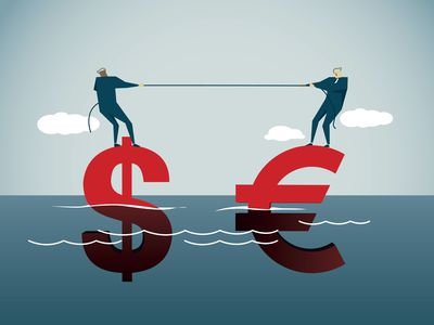Two cartoon men use a rope to pull a floating dollar and euro sign closer together with Transatlantic Trade