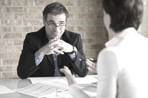 Financial advisor working with client