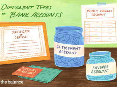Illustration showing checks, jars, certificates and tables representing the different types of bank accounts