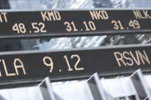 Stock price quotes on stock ticker