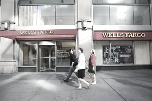 Outside view of a wells fargo
