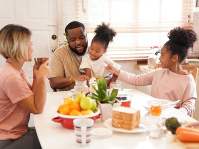 Family has breakfast together