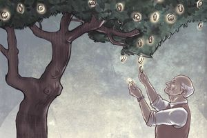 Illustration of a senior man picking gold coins from a tree representing retirement savings.