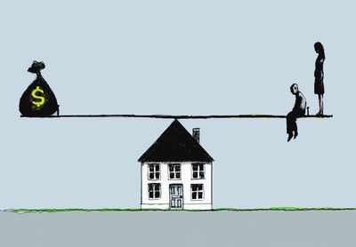Illustration of a seesaw on top of a house with a money bag on one side and a couple on the other