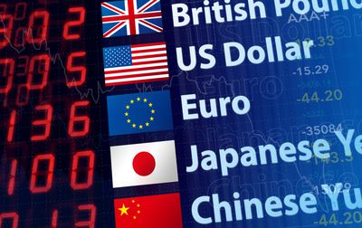 Graphic of world currency rates for forex trading.