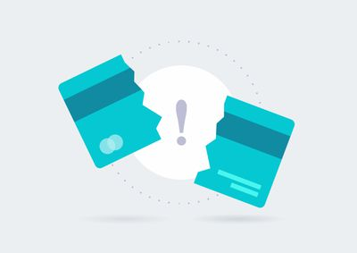 Credit Card Payment Error Vector Icon. Credit card declined or broken Symbol Concept Isolated background. EPS10.