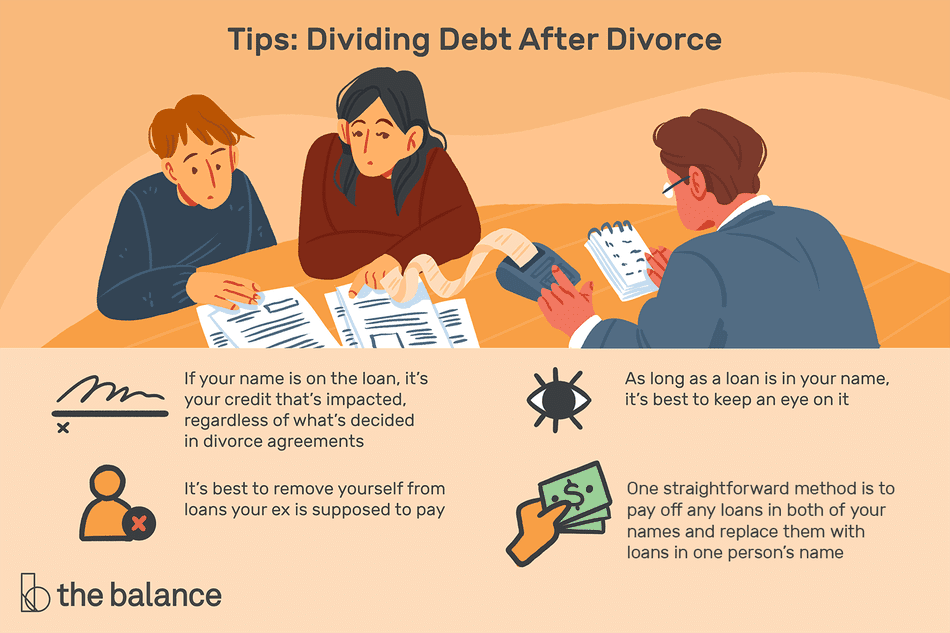 Dividing Debt After Divorce: If your name is on the loan, it's your credit that's impacted, regardless of what's decided in divorce agreements. It's best to remove yourself from loans your ex is supposed to pay. As long as a loan is in your name, it's best to keep an eye on it. One straightforward method is to pay off any loans in both of your names and replace them with loans in one person's name.