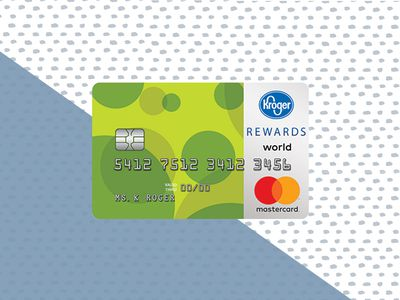 Kroger Rewards Mastercard on a blue and blue check background.