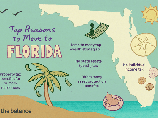 Top Reasons to Move to Florida. No individual income tax. No State Estate (Death) Tax. Offers many asset protection benefits. Property tax benefits for primary residences. Home to many top wealth strategists