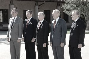 Five former U.S. Presidents (Bush, Reagan, Carter, Ford, Nixon) stand together for a photograph.