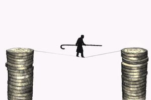 Illustration of a figure walking on a tightrope suspended between two stacks of gold coins.