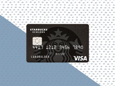 This illustration shows the front side of a Starbucks Rewards Visa card.