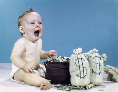 Baby crying over money