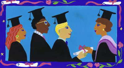 In this colorful illustration, graduating students receive their diplomas on the way to closing the educational achievement gap