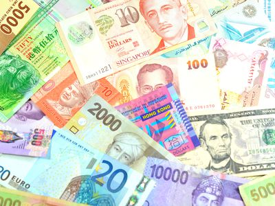 A variety of foreign currency