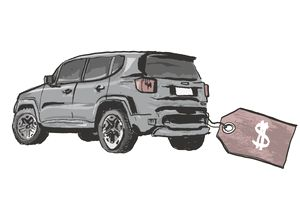 illustration of a car dragging a large price tag behind it