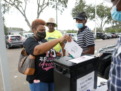 People placing voting ballot in collection box