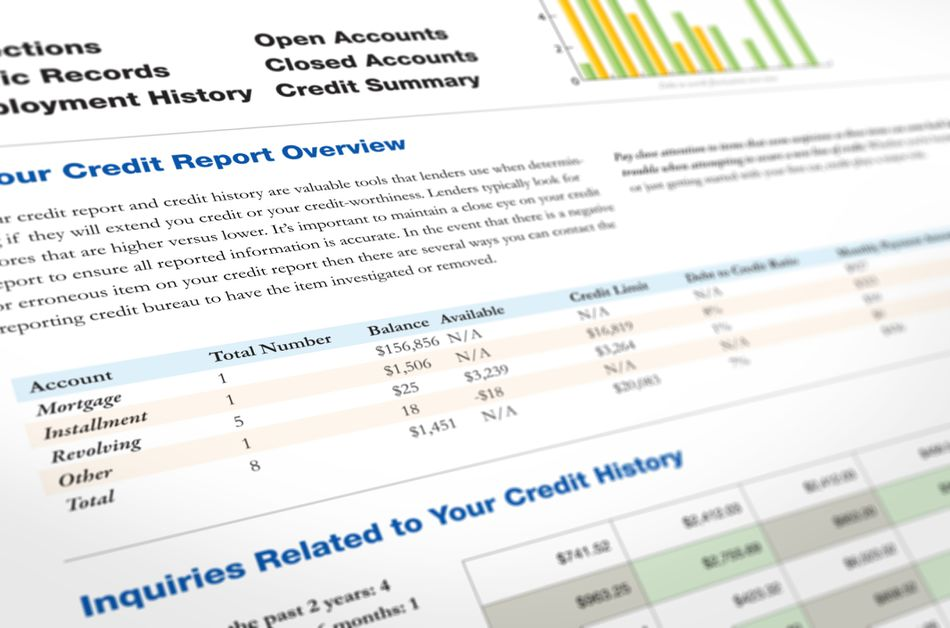 A printout of a credit report overview