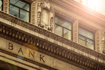 classic architecture details of a Bank building