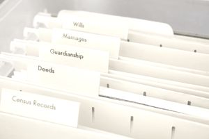 Estate planning folders including wills and guardianship.
