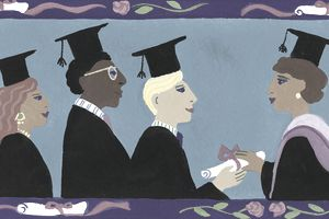 In this colorful illustration, graduating students receive their diplomas on the way to closing the educational achievement gap.