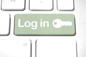 Log in key on a computer keyboard
