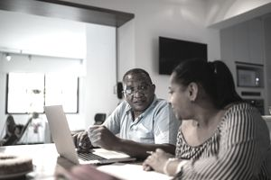 Couple doing home finances together
