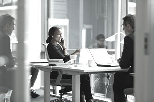 A financial advisor discusses swap investments with a client.