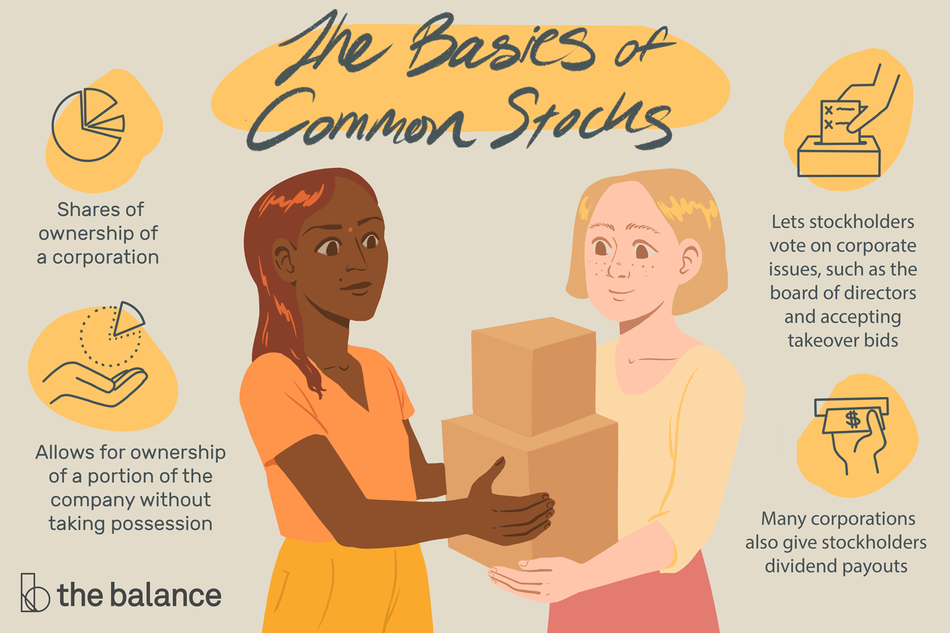 This illustration shows the basics of common stocks including shares of ownership of a corporation, stocks allow ownership of a portion of the company without taking possession, they let stockholders vote on corporate issues and many corporations also give stockholders dividend payouts.