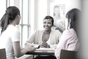 A business owner meets with a lender