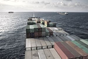 Shipping containers on a container ship at sea