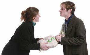 man and woman arguing over bag of money