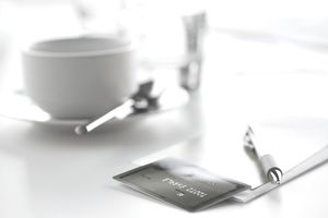 Close-up of pen and credit card