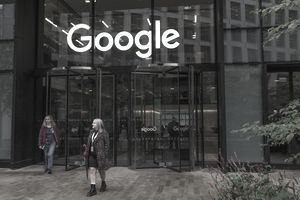 A woman walks out of Google's offices