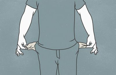 Illustration of man pulling his empty pants pockets out, symbolizing bankruptcy.