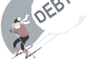 "A large snowball with the word ""Debt"" rolls downhill behind a skier with a surprised and worried look on her face"