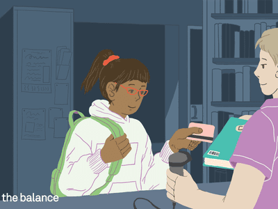 Image shows a teen girl paying for a book with a credit card.