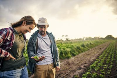 Man and woman looking at vegetables they've picked off their farm