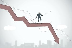 Illustration of a man walking on a downward trending graph line like a tightrope walker