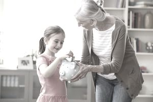 Medicare and Medicaid Health Programs Grandma with Child saving money