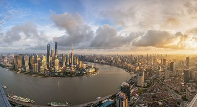 Shanghai skyline and Lujiazui seen from puxi at dusk,Shanghai,China