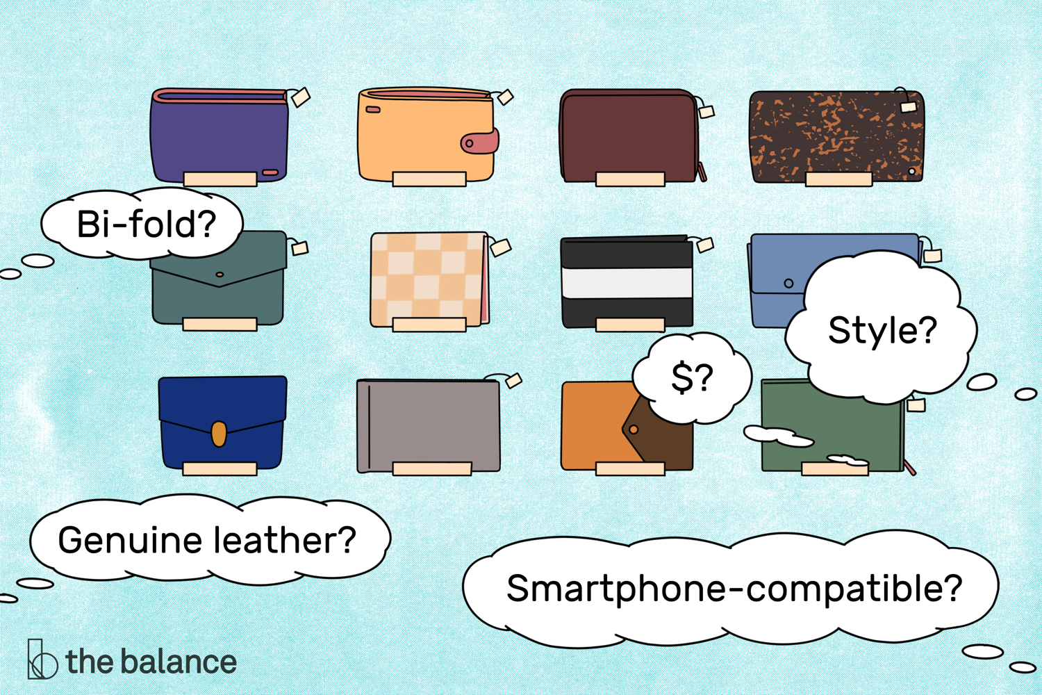Image shows 12 wallets of various shapes, sizes, colors, and materials. Text reads: