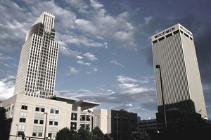 Woodmen Tower and First National Bank.