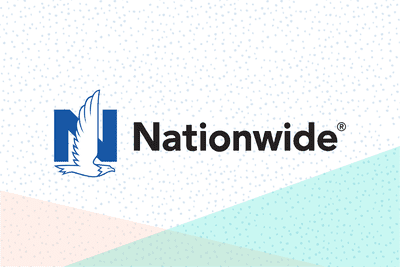 Nationwide insurance logo, a blue N with an eagle flying in front of it, and the word