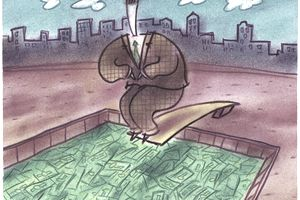 Drawing of a man diving into a pool of dividend income
