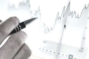 Hand of a stock broker analyzing line graph of financial ratios on computer screen